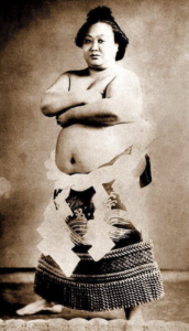 Mujeres jugadora de sumo foto antigua